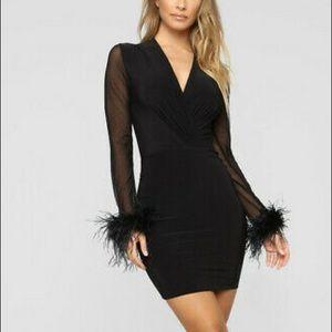 Cute feather waist sleeve black mesh mini dress